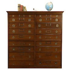 Oak Antique 18 Drawer Map Chest, Document or Lab File Cabinet, Kewaunee #31785