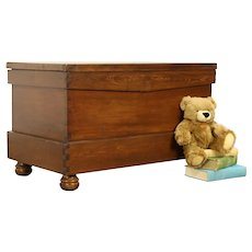 Primitive Country Pine Antique Blanket Chest, Trunk, Bench, Coffee Table #31794