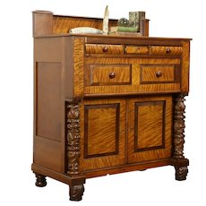 Empire Antique Cherry & Curly Maple Acanthus Carved Chest or Dresser #31800