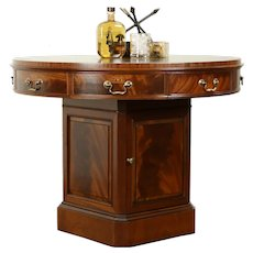 Round Vintage Hall Center, Lamp or Rent Table, Leather Top, Weiman #31806