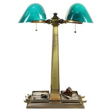 Emeralite Antique Partner Desk Double Banker Lamp, Green Shades #31811