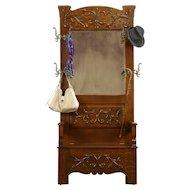 Victorian Oak Antique Hall Bench, Storage, Beveled Mirror, Coat Hooks,  #31823
