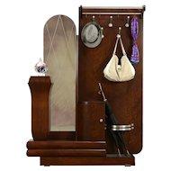 Art Deco French Oak Hall Stand, Coat Hooks, Mirror, Umbrella Holder #31832