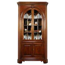 Cherry Vintage Corner Cabinet or Cupboard, Glass Doors, Signed Centennial #31833