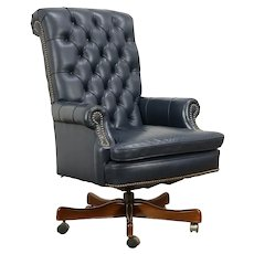 Leather Swivel Adjustable Tufted Leather Vintage Desk Chair #31839