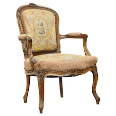 French Antique Carved Fruitwood Chair, Old Needlepoint & Petit Point #31855