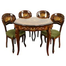 Game Table & 4 Chairs Italian Dal Negro Set, Chess, Roulette, Marquetry #31860