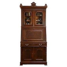 Victorian Eastlake Antique Secretary Desk & Bookcase Curly Maple Interior #31862