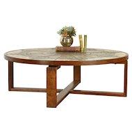 Midcentury Modern Vintage Danish Teak & Tile Coffee Table, Signed #31873