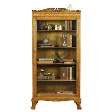 Oak Antique Bookcase, Bath or Display Cabinet, Wavy Glass Door #31877