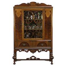 English Tudor Antique Walnut China Display Cabinet or Bookcase, Bott NY #31878