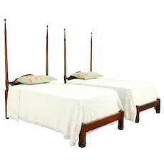 Pair of Mahogany Vintage Twin or Single Poster Beds, Kittinger of NY #31880