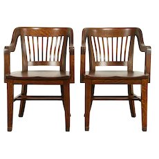 Pair of Quarter Sawn Antique Oak Banker, Office, Library Chairs, Crocker #31883