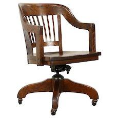 Oak Quarter Sawn Antique Swivel Adjustable Office or Library Desk Chair #31918