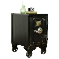 Iron Antique Safe, Chairside Table, Original Painting, Combination Lock #31919