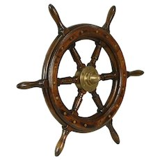 Oak Antique 1920 Salvage Ship or Boat Wheel, Bronze Mounts #31920