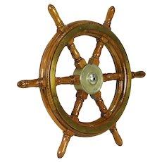Oak Antique 1920 Salvage Ship or Boat Wheel, Brass Mounts #31921