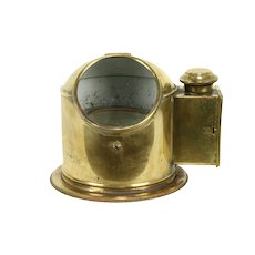 English Brass Antique Ship Compass & Sherwood Lantern  #31928