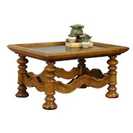 Carved Fruitwood Vintage Coffee or Cocktail Table, Slate Top #31937