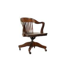 Swivel Adjustable Quarter Sawn Oak Antique Office Desk Chair, Taylor #31940