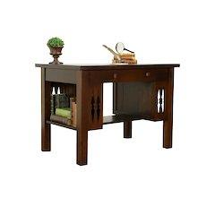 Arts & Crafts Mission Oak Antique Craftsman Library Table Desk #31941
