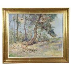 Summer Forest Scene in Scandinavia, Original Vintage Oil Painting, Signed #31947