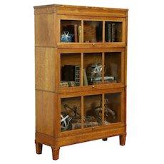 Arts & Crafts Antique 3 Stack Craftsman Lawyer Bookcase, Macey #31949