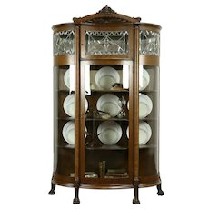 Victorian Antique Oak Curved, Leaded Glass China Curio Display Cabinet #31951
