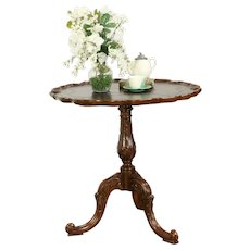 Traditional Vintage Lamp or Tea Table, Carved Mahogany, Maitland Smith #31956