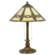 Bradley & Hubbard Antique Lamp, Stained Glass 8 Panel Shade #31958