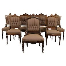 Victorian Group of 8 Antique Walnut Dining Chairs, Tufted Upholstery #31961