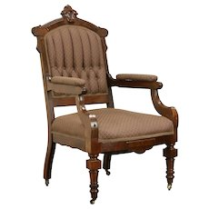 Victorian Antique Walnut & Burl Chair, Tufted Upholstery  #31962