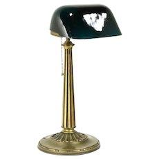 Emeralite Emerald Green 1916 Pat. Antique Brass Banker Desk or Piano Lamp #31964