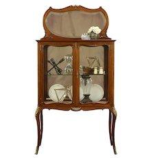 Carved Mahogany Antique Vitrine Curio Display Cabinet, Beveled Mirror  #31967
