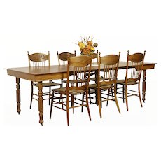 "Square 42""  Oak Antique Dining Table, 5 Leaves, Extends 8' 5"" #31969"