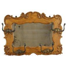 Victorian Antique Oak Hall Mirror, Coat & Hat Hooks #31970