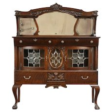 Victorian Antique Oak Sideboard Server, Leaded Glass, Beveled Mirrors #31971