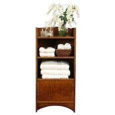 Arts & Crafts Mission Oak Antique Craftsman Bookshelf or Bath Cabinet #31973