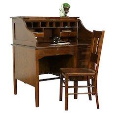 Oak 1915 Antique S Curve Library or Office Rolltop Desk, Sterling #31977