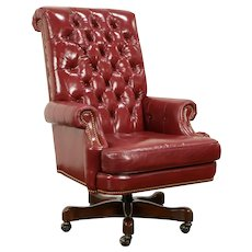 Leather Tufted Swivel Adjustable Desk Chair, Brass Nailheads, Councill #31979