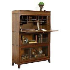 Oak Quarter Sawn Antique 2 Stack Lawyer Bookcase & Secretary Desk,Gunn #31983