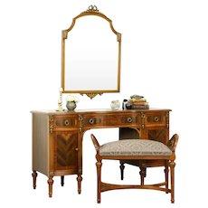 Vanity Desk or Dressing Table, 1930's Vintage, Bench & Mirror #31985