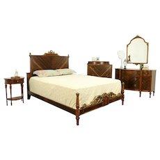 Mahogany, Rosewood & Burl Vintage 5 Pc. Queen Size Bedroom Set #31986