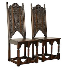 Pair of Renaissance Carved Antique Oak Hall Chairs #31988