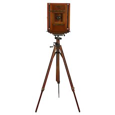 Folmer Kodak Antique 8x10 Camera, Ansco Tripod, Hall & Benson Lens #31990