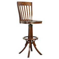 Drafting or Architect Quarter Sawn Oak Antique Stool, Signed Marble #31998