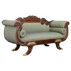 Empire Centennial Antique Sofa, Carved Mahogany Cornucopia, Bronze Feet #32000