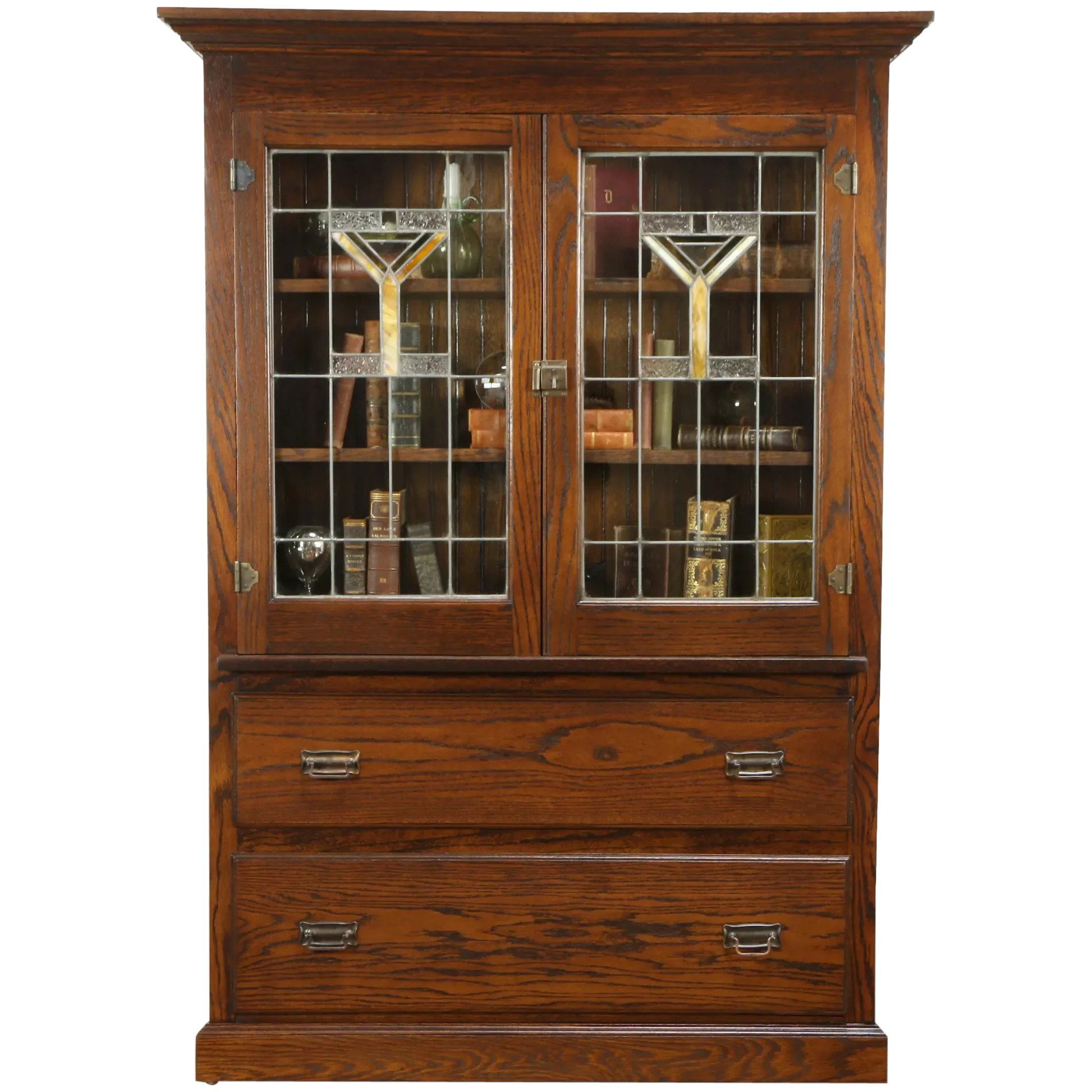 Arts Crafts Mission Oak Antique Bookcase China Cabinet Leaded Glass 32002