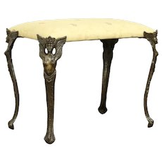 Iron Antique Bench, Angel Legs, New Upholstery, Signed Verona #32004
