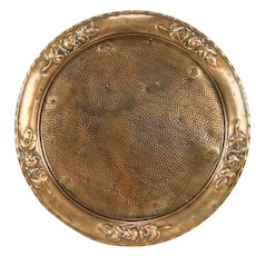 Hammered Copper Antique Tray or Plaque, Embossed Roses #32009